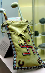 Swastika on a Delaware Native American tobacco pipe bag