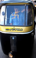 Swastika painted onto the windscreen of an  auto-rickshaw in India