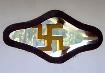 Swastika window at a Buddhist temple in China