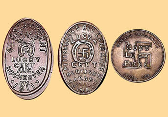 Lucky coins bearing swastikas from USA