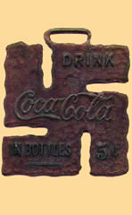 Coca-cola swastika lucky watch fob