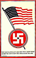 Lucky swastika postcard with Stars and Stripes USA flag