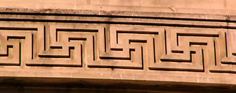 Linked swastika motif around Manchester Central Library, UK