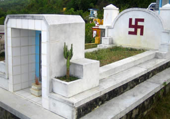 Swastika on a grave in a Vietnamese cemetary